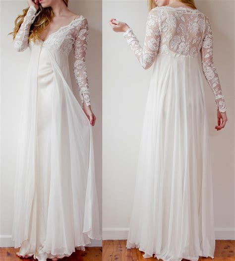 High Low Long Lace Chiffon Ivory Beach Wedding Dresses