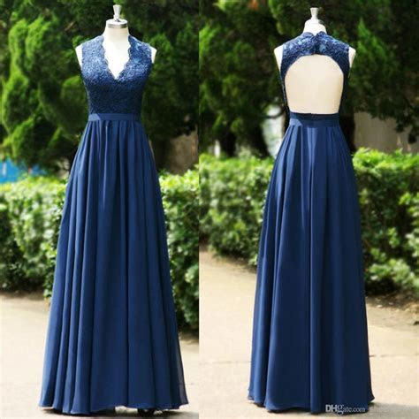 2015 Navy Blue V Neck Lace Evening Dresses A Line Backless
