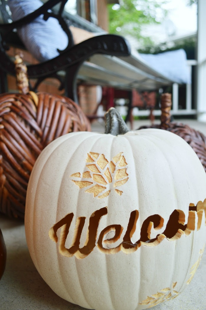 Carved + Etched Pumpkin from Mad in Crafts  |  25 Creative DIY Pumpkins at www.andersonandgrant.com
