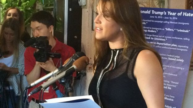 Former Miss Universe Alicia Machado speaks during a news conference at a Latino restaurant in Arlington, Virginia, on 15 June, 2016