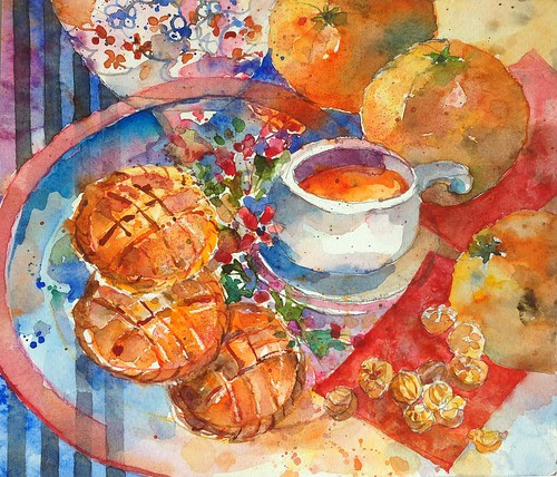 Mandarin oranges & pineapple tarts. by PaulArtSG