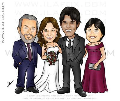 caricatura padrinhos, caricatura madrinhas, caricaturas para casamento, by ila fox