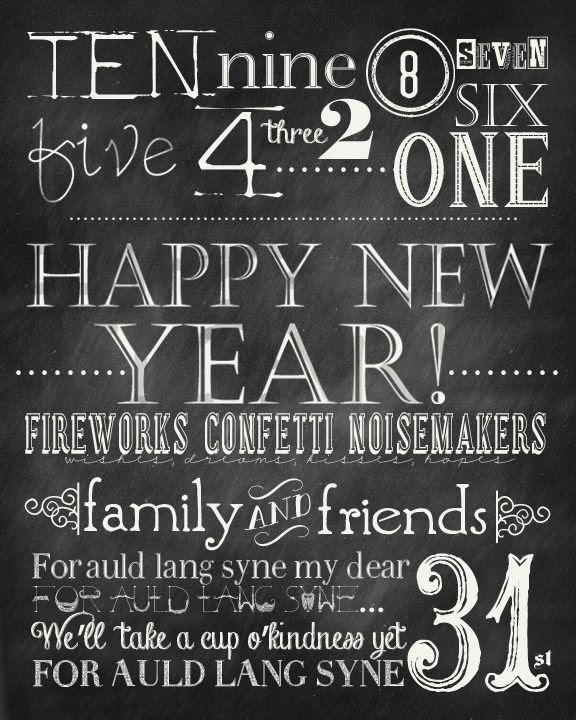 Free New Years Printable and Party Kit. { Invitations, Food Toppers, food and name tags}