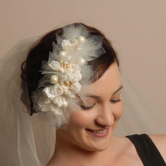ivory whimsical wedding hair accessory fantasy headpiece bridal ivory
