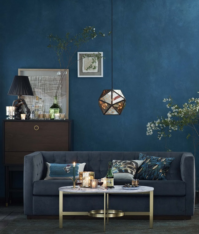 Living room colour schemes moody blues | Homegirl London