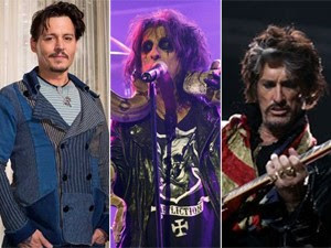 Johnny Depp, Alice Cooper e Joe Perry  (Foto: Reuters, G1 e AP)