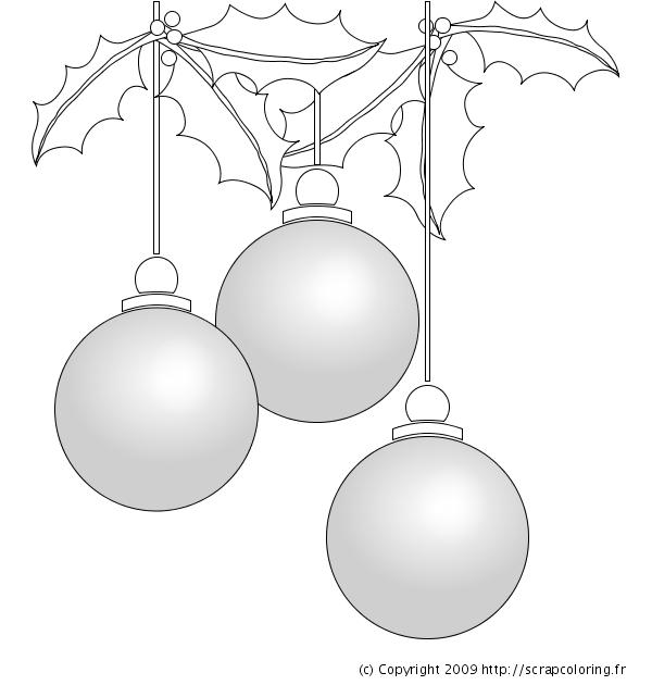 Coloriage Boules De Noël Et Houx