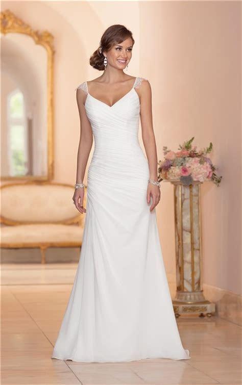 Elegant V Neck Open Back Chiffon Draped Wedding Dress With