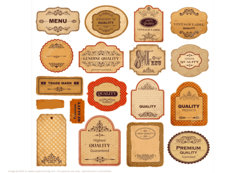 Download Printable Vintage Labels with Old Papers and Ornaments   Free Printable Papercraft Templates
