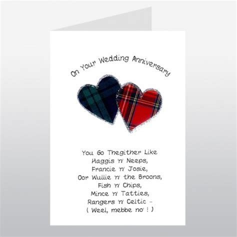 Scottish Wedding Anniversary Card Go Thegither Poem WWWE39