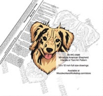 Miniature American Shepherd Dog Intarsia or Yard Art Woodworking Plan - fee plans from WoodworkersWorkshop® Online Store - Miniature American Shepherd dogs,pets,animals,dog breeds,intarsia,yard art,painting wood crafts,scrollsawing patterns,drawings,plywood,plywoodworking plans,woodworkers projects,workshop blueprints