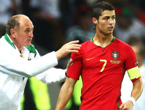 Cristiano Ronaldo e Felipão na seleção de Portugal em 2008 (Foto: Getty Images)