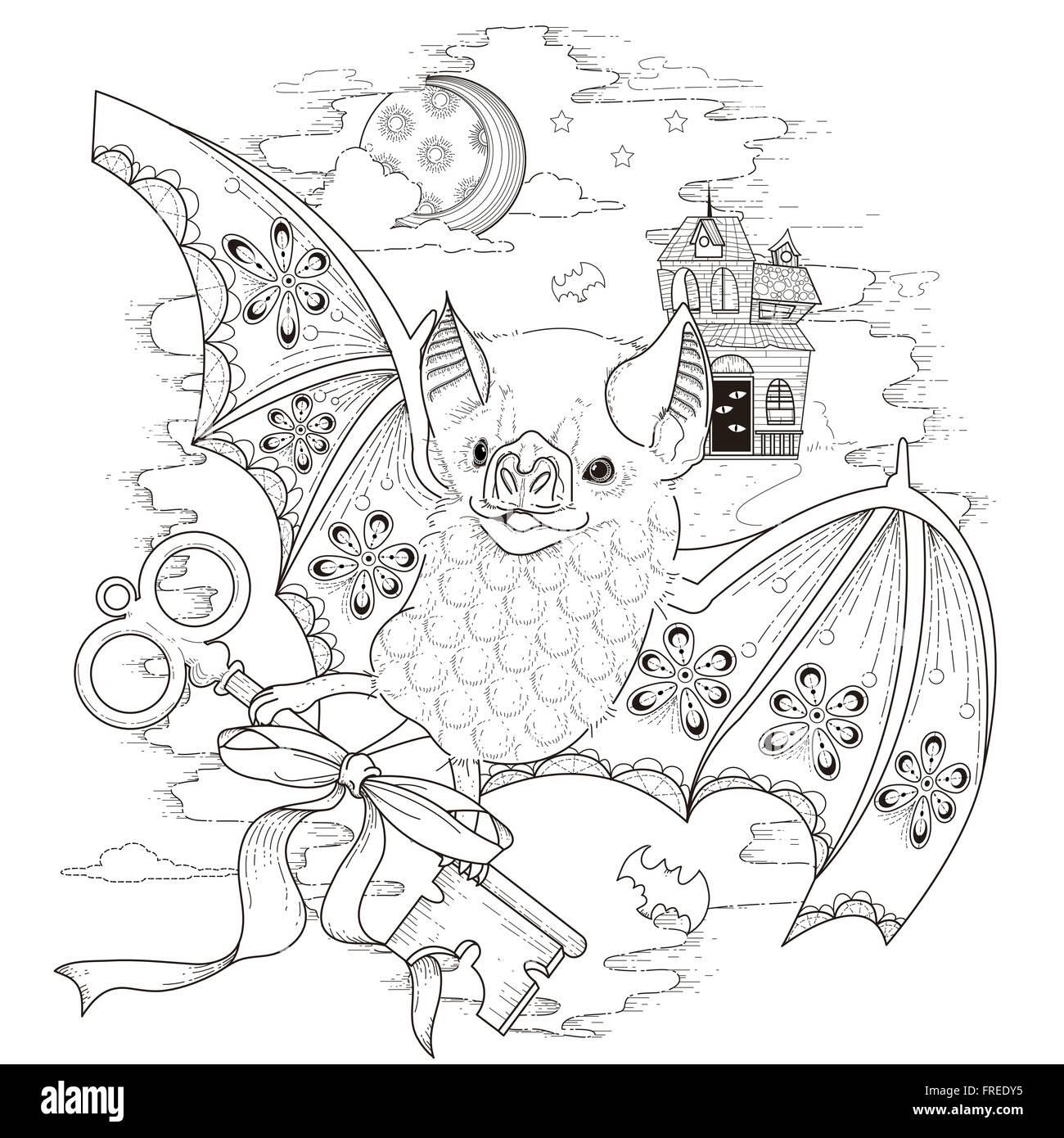schöne Fledermaus Malvorlagen in exquisitem Stil Stockbild