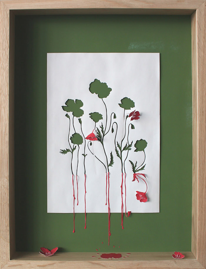 15 red running poppies ii1 25 Striking Framed Papercuts by Peter Callesen