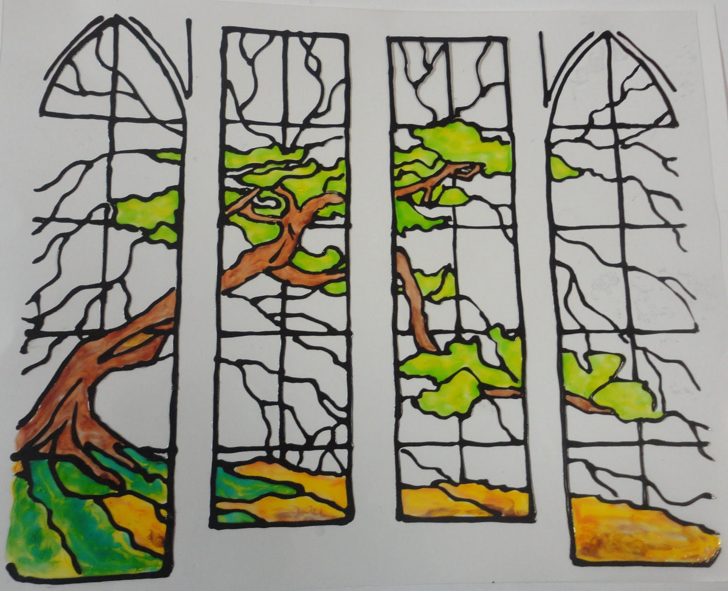 Stain Glass Tree Panels   Window  Cling Made To Order - smorgane2u