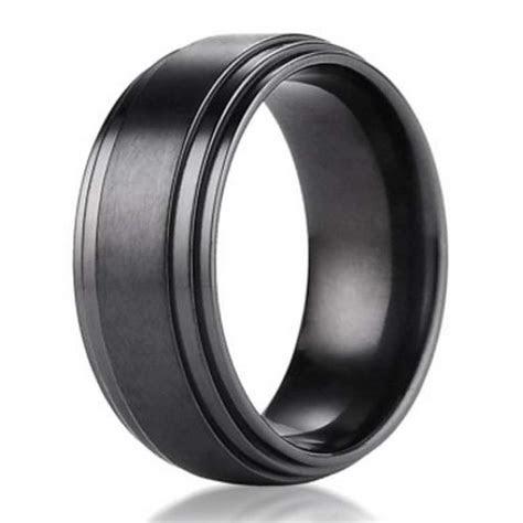 8mm Benchmark Black Titanium Men's Wedding Ring with Step