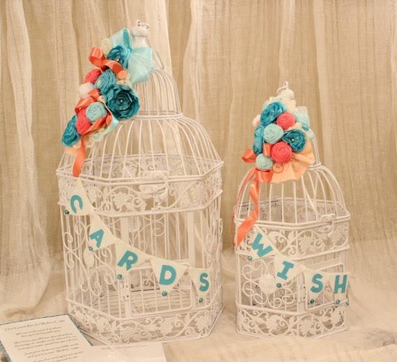 Wedding Card Holder Bird Cage Tiffany Blue Oasis Malibu Corn Flower Coral Peach Coral Reef 1016