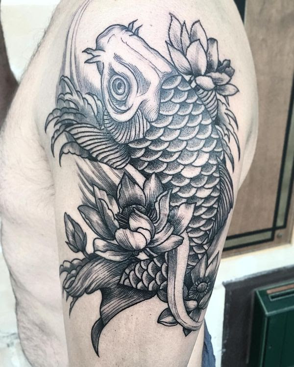 Awesome Black And Grey Koi Fish Tattoo On Upper Arm Parryzcom