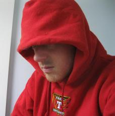 Eddie in a hoodie