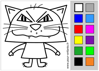 Coloriage en ligne Halloween. Dessin de chat d'Halloween.