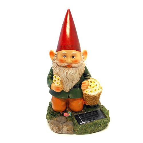 Daisy Solar String Lights: Gnome Holding Basket Full Of Daisy With Solar Powered