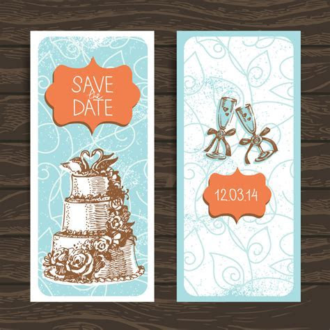 Wedding Invitation Card Design Vector   Free Vector