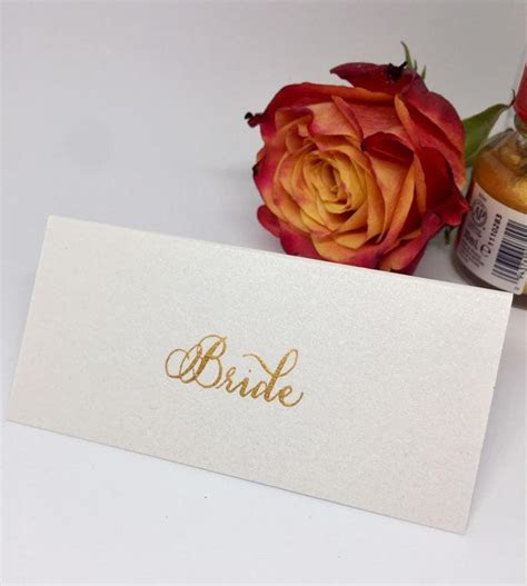 Wedding Place Cards/Name Cards Handwritten in Gold