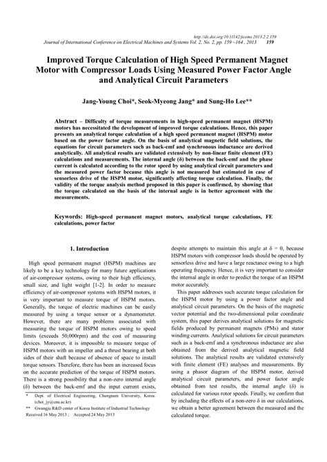 (PDF) Improved Torque Calculation of High Speed Permanent