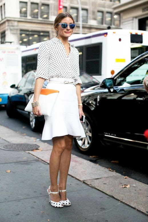 Le Fashion Blog Spring Street Style Olivia Palermo Mirrored Sunglasses Polka Dot Button Down Shirt High Waisted Skirt With Fluted Hem Color Block Clutch Heeled Sandals Via Popsugar