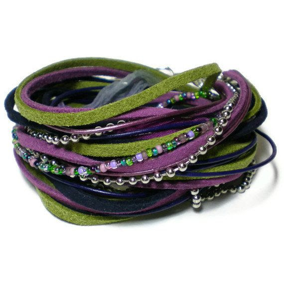 bohemian leather wrap bracelet suede ribbon wrap by jcudesigns, £20.00