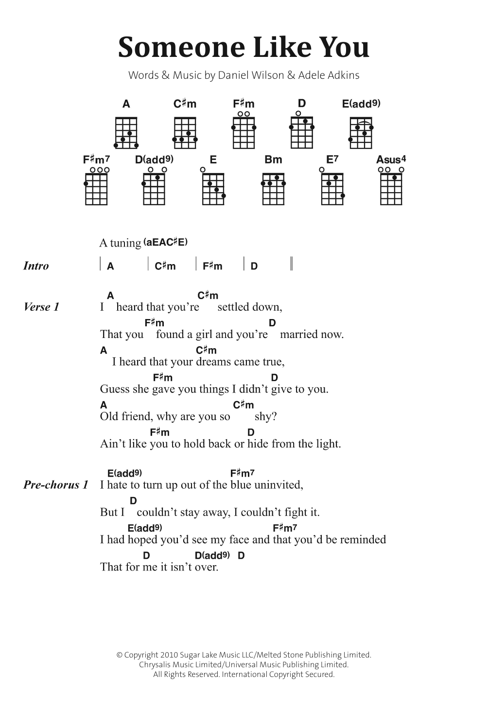 Chord Gitar Someone Like You Chord Walls