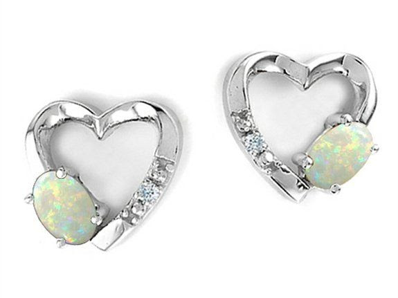 Tommaso Design Genuine Opal and Diamond Heart Earrings White Gold