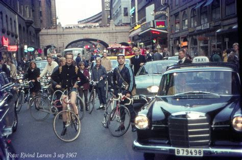 Stockholm hipsters in 1967, on the day on which traffic in