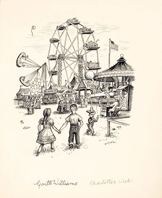 pen sketch b&w of 2 kids entering carnival fair with ferris-wheel and other rides