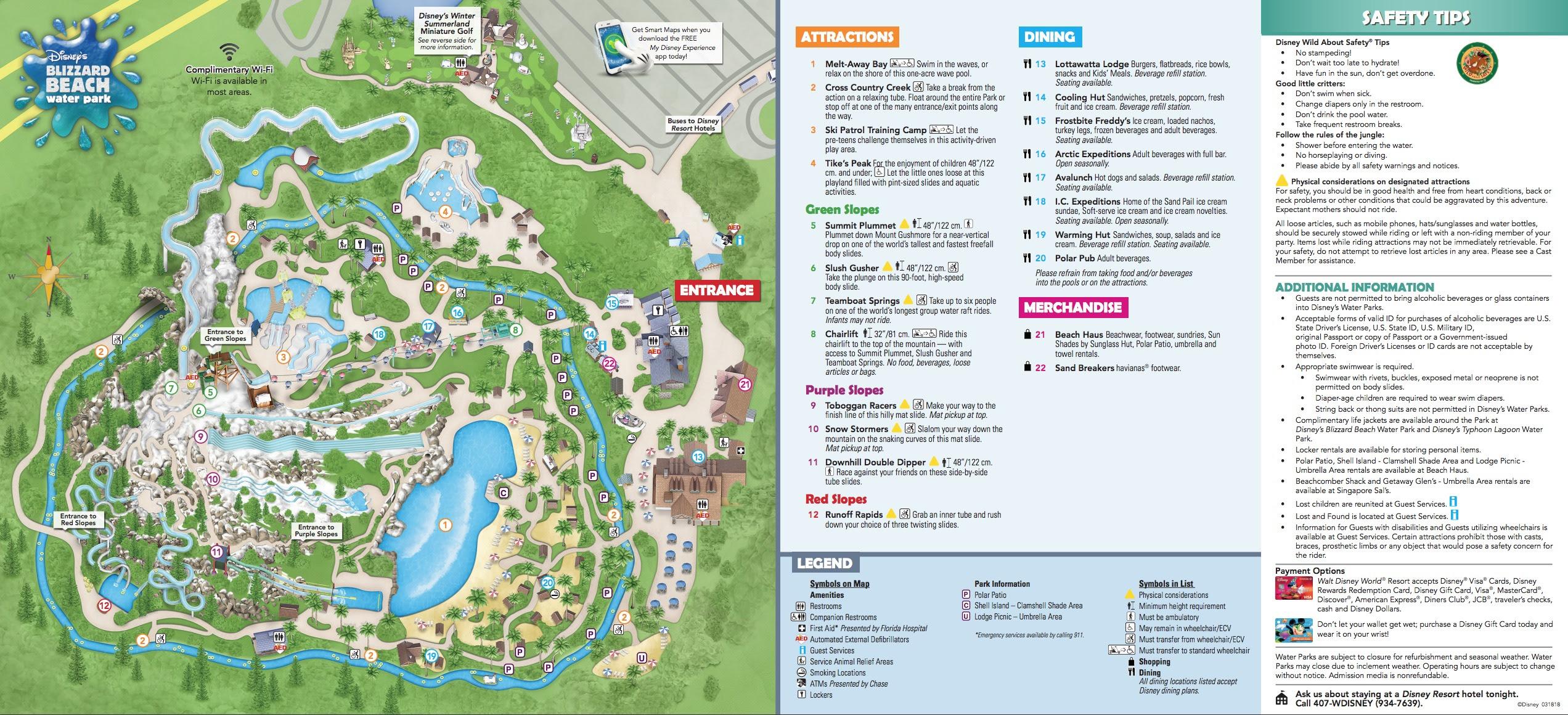 Disney's Blizzard Beach Water Park map