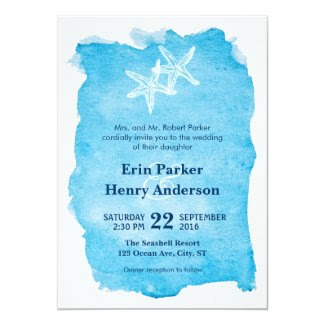Starfish on Watercolor Wedding Invitation