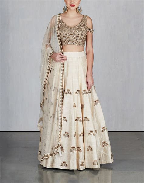 Off White Ginkgo Lehenga with Cold Shoulder Blouse and