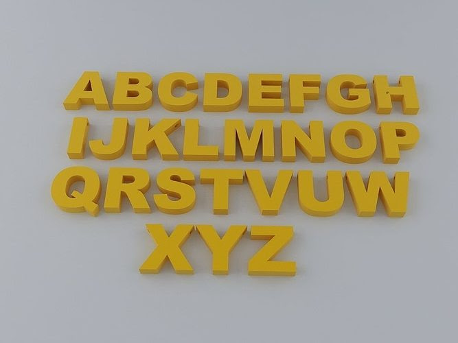 A to Z English Letters Alphabet free 3D Model 3D printable STL ...
