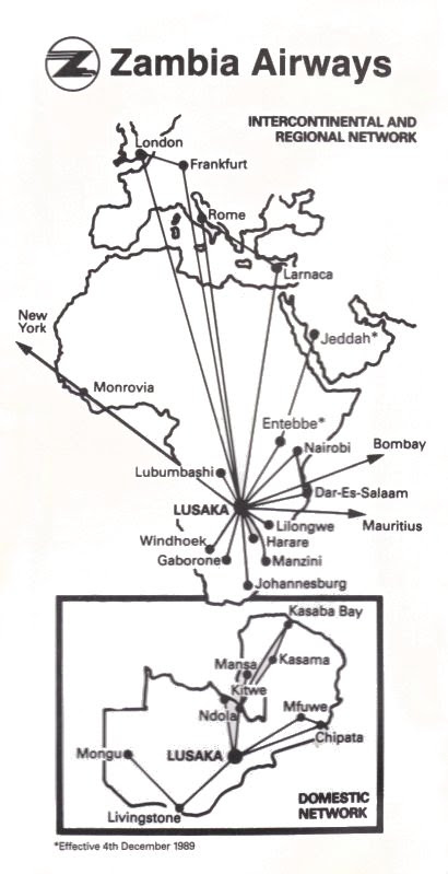 Zambia Airways Route Map