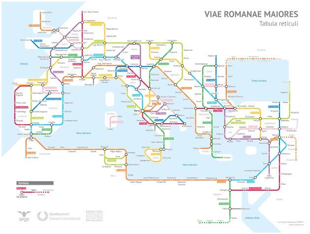 Mapa de metro que reconstruye parte de la red de conexiones del Imperio Romano / Sasha Trubetskoy. Haz click para ampliar la imagen.