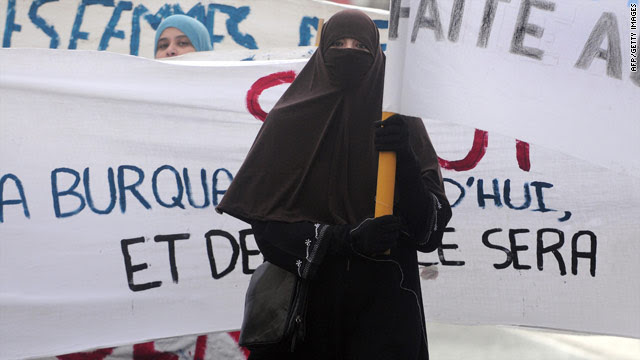 A woman in Tours wears a niqab during protests over efforts to ban Islamic face coverings.