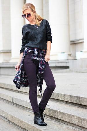 navy WOAKAO shirt - black ankle boots Gido boots - black sweater
