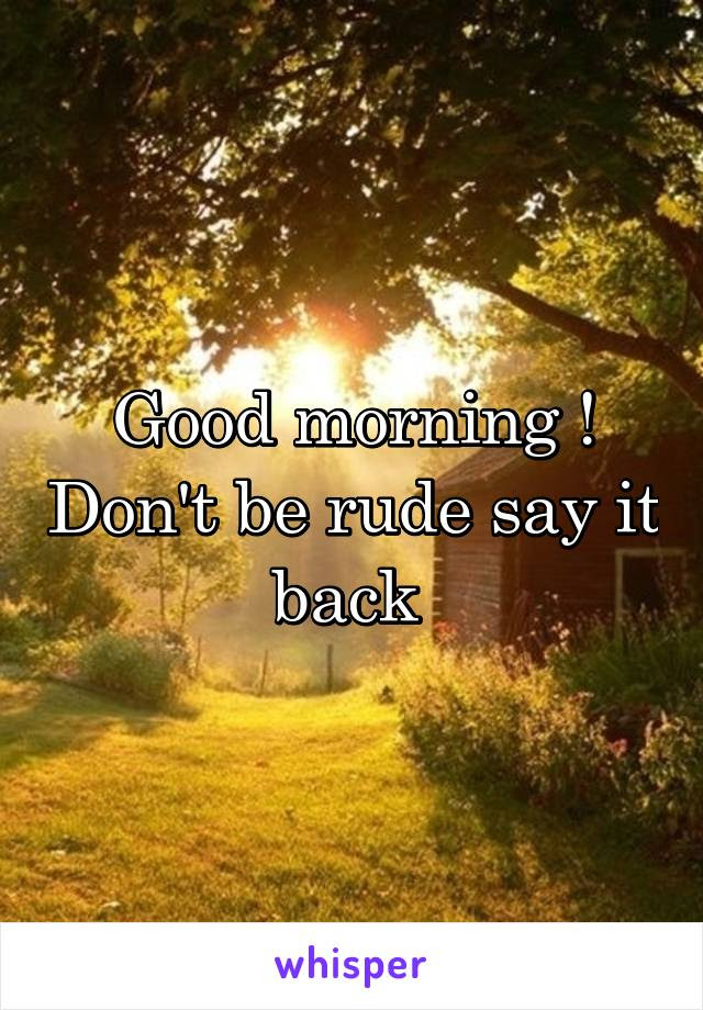 Good Morning Dont Be Rude Say It Back