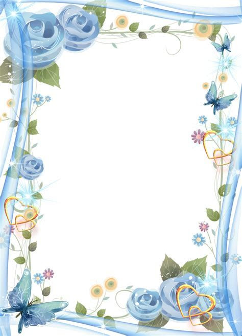 Blue Flower Borders And Frames clipart   Design, Painting