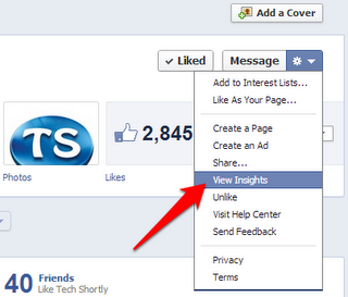 facebook page stats report option