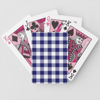 Navy and White Gingham Pattern Card Deck