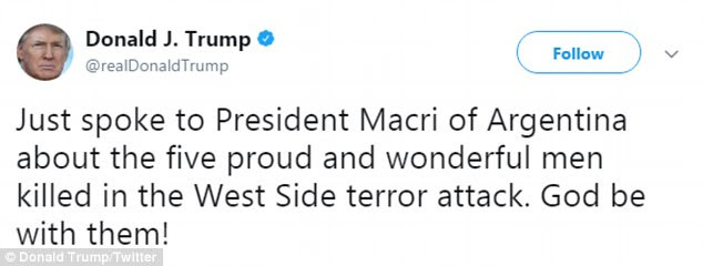 Trump tweeted Wednesday night that he spoke with the president of Argentina about the five victims who died in the attack on Tuesday