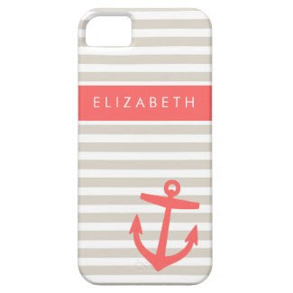 Linen Beige & Coral Stripes & Anchor Monogram iPhone 5 Cover