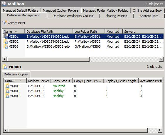 Рисунок 1: Почтовые базы данных в Exchange 2010