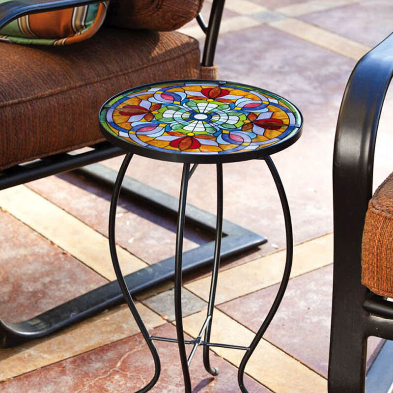 Tiffany Glass End Side Table Metal Accent Patio Porch ...